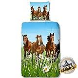 Aminata kids Bettwäsche Pferde Mädchen 135 x 200 cm Pferdemotiv, Pferd Baumwolle mit Reißverschluss, Kinder-Bettwäsche mit Pferdebettwäsche-Motiv ist bunt & kuschelig, Pony mit Pferden, braune