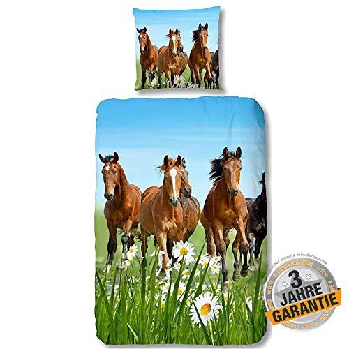 Aminata Kids Pferde Bettwäsche 135 x 200 cm + 80 x 80 cm aus Baumwolle mit Reißverschluss, unsere Kinderbettwäsche mit Pferdebettwäsche-Motiv ist weich und kuschelig