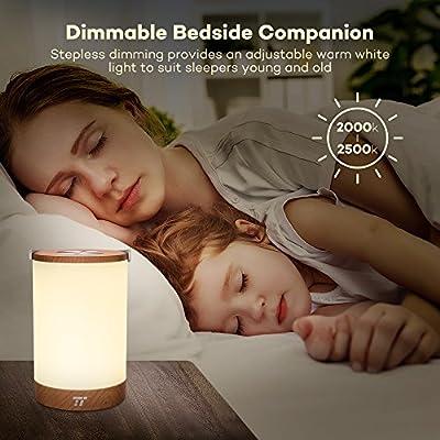 Tischlampe LED TaoTronics Vintage Nachttischlampe mit RGB Farbwechsel 256 Farbe, Touch-Bedienung, 4000mAh Akku, Merkfunktion (Mehrfarbig, Stufenlos Dimmbar, Tragbar, 110 Stunden Betrieb, Holzoptik) von TaoTronics