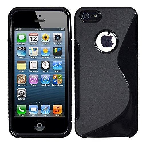 VComp-Shop® S-Line TPU Silikon Handy Schutzhülle für Apple iPhone 5/ 5S/ SE + Großer Eingabestift - TRANSPARENT SCHWARZ