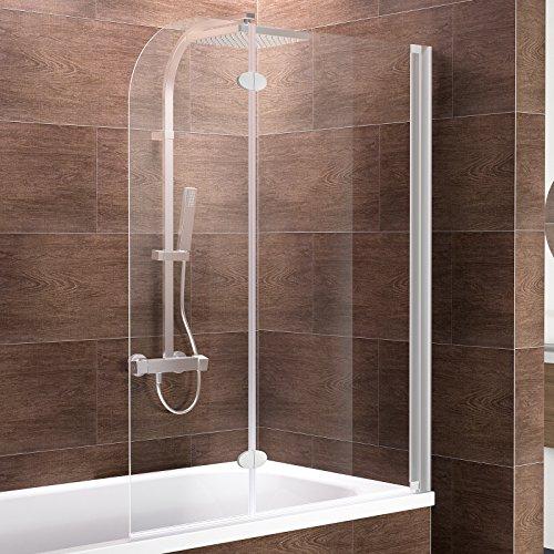 Schulte Duschabtrennung Badewanne zum Kleben Glas 2 teilig 140x114 cm Hamburg, 1 Stück, 4056397003885