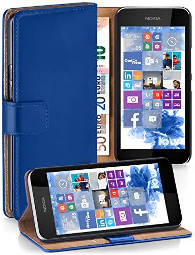 moex® Booklet mit Flip Funktion [360 Grad Voll-Schutz] für Nokia Lumia 530 | Geldfach & Kartenfach + Stand-Funktion & Magnet-Verschluss, Dunkel-Blau
