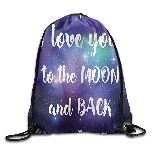 Naiyin Unisex Drawstring Backpack, Outer Space Background with I Love You to The Moon and Back Typography Drawstring Gym Sack Sport Bag