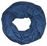 Jersey Loopschal Open-Cut / Ohne-Naht einfarbig Loop Schlauchschal Rundschal Halstuch Schal unifarben Basic (Jeansblau)