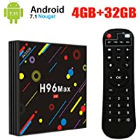 [2018 Model] UKSoku H96 Max Android 7.1 TV Box 4GB + 32GB 4K Ultra HD Smart TV Box RK3328 Quad-Core 64bit CPU 2.4G/5G Dual-Band Wifi 100M LAN 3D H.265 Set Top Box with Remote Control