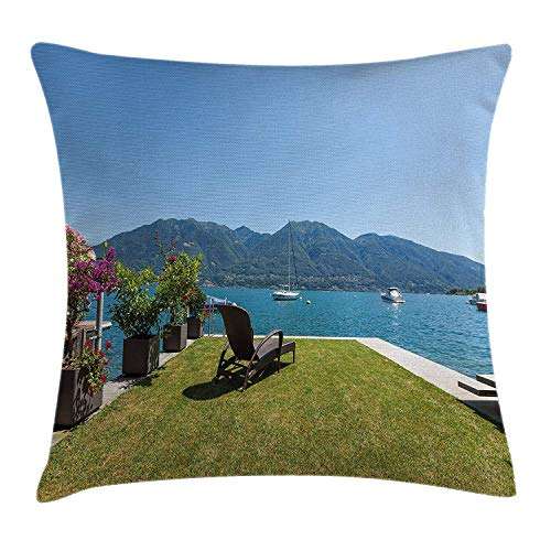 Travel Decor Throw Pillow Cushion Cover, Outdoor Terrace Patio Flowers with Mountain Ocean Sea Scenery, Decorative Square Accent Pillow Case, 18 X 18 inches, Green Sky Blue and White