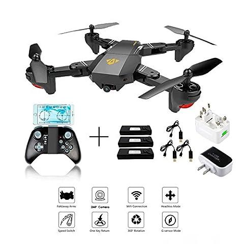 XS809W Foldable RC Quadcopter avec Altitude Hold FPV VR Wifi Grand angle 720P 2MP HD Camera 2.4GHz 6-Axis Gyro Télécommande XS809HW Drone + 3Pcs Batterie + 3Pcs Câble de chargement USB + 1 à 3 Chargeur