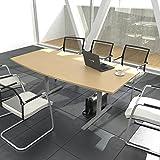 EASY Konferenztisch Bootsform 180x100 cm Buche