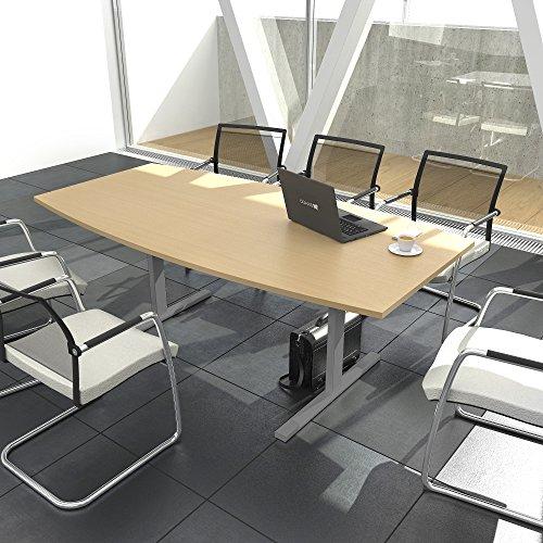 EASY Konferenztisch Bootsform 180x100 cm Buche Besprechungstisch Tisch, Gestellfarbe:Silber
