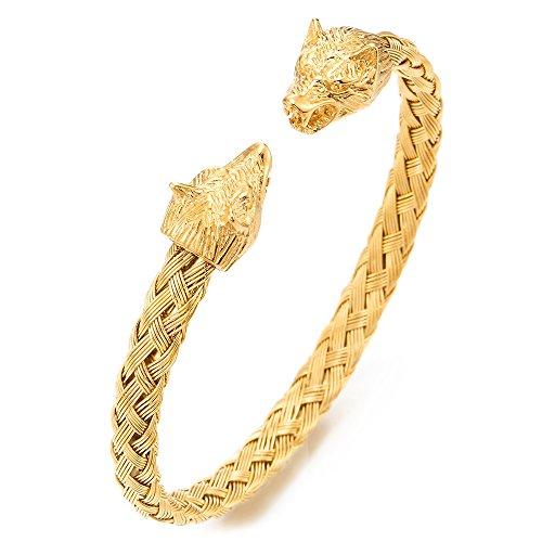 COOLSTEELANDBEYOND Herren Wolfskopf Armband Edelstahl Geflochtene Stahlkabel Armreif Farbe Gold Poliert, Verstellbare