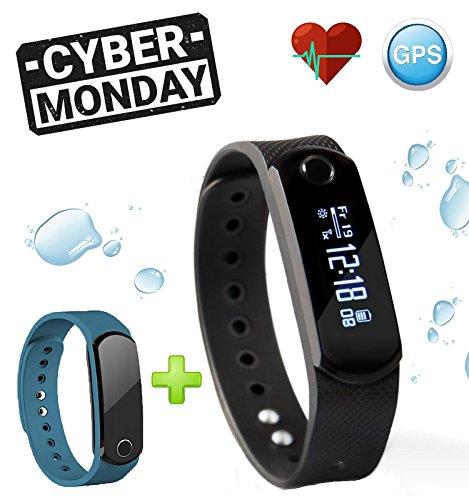 Time2 Pulsera Reloj Inteligente / Bluetooth / Impermeable / Actividad avec Podómetro / Monitor de sueño y ritmo cardíaco / Contador de Calorías / GPS – Deportivo Fitness Tracker para Android y iOS