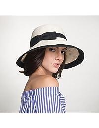 Cappello Estivo Donna di Paglia Spiaggia Pescatore Cappellino di Sole Tesa  Larga Bowknot Cappelli Pieghevole da f21b660b8a1f