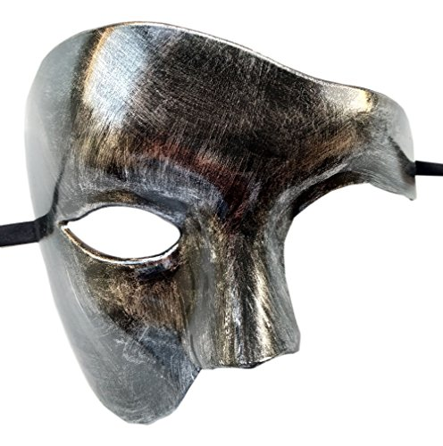 Coolwife Maskerade Maske Vintage Phantom der Oper ein Augen Half Face Kostüm (Silber Schwarz)