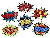 i-Patch Patches - 0102 - Set - Wow - LOL - Oops - Bam - Kaboom - Pow - Stickerei - Applikation - Aufnäher - Sticker - Badge - Flicken - DIY - Emoji - Aufbügler - Bügelbild - Iron-on - Embleme - Retro