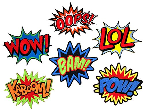 i-Patch Patches - 0102 - Set - Wow - LOL - Oops - Bam - Kaboom - Pow - Stickerei -...