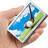 Golfball auf rotem T-Stück mit Fahrer gegen grünes Fak-Farben-Visitenkarte-Halter-personalisiertes...