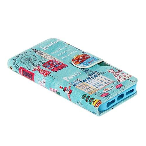 SMARTLEGEND Custodia in Pelle per iPhone SE 5 5S, Disegno di Stampa Stile del Libro Portafoglio Cover Case in PU Cuoio Flip protettivo Custodia Portafoglio Caso Copertina con Funzione di Supporto e Mo Cielo blu