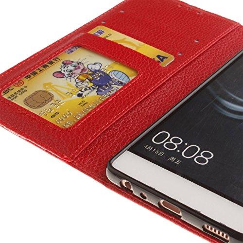 Dragonne Coque de Protection Portefeuille pour Apple iPhone 5 SE - Aohro Elegant Flip Folio Housse Etui en PU Cuir Case Cover avec Porte-cartes, Fermeture Magnétique + Stylus Pen + Dust Plug - Orange Rouge
