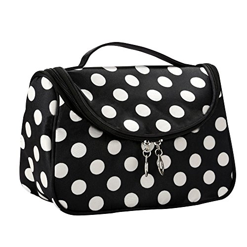 Contever® Multifonction Pouch Makeup Cosmetic Bag Case Toiletry Zip Wash Polka Dots Organizer Voyage Big Size - Blanc