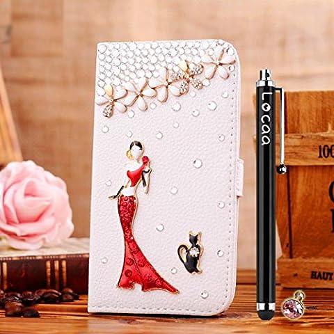 Locaa(TM) Huawei Ascend G7 3D Bling case + stylus + enchufe del polvo - cristalino lujo la perla del rhinestone del diamante lindo hermoso populares Funda la relucir billetera la tarjeta crédito funda protectora PU [Serie General] - chica en vestido rojo
