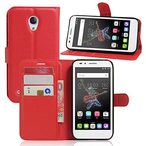 Guran® Housse En Cuir pour Alcatel OneTouch Go Play Smartphone Flip Cover Etui Debout Fonction et Fente Porte-cartes Cas-rouge