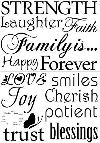 Dior Family Wandtattoo Decal-Classic-Set von 10Family Words Zitat Familie Wand Aufkleber Bild Wand Aufkleber (der Bild Enthalten. Keine Fotos) -
