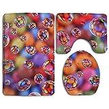RedBeans Colorful Smarties Badteppich Badezimmer Teppich Teppich Waschbar Antirutschmatte 3-Teiliges Badezimmer Set