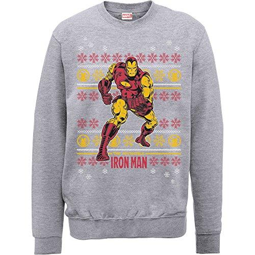 Marvel Comics Iron Man Weihnachten Knit, Sweatshirt Gr. Medium, Grau - Erika-Grau