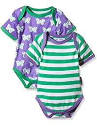 Toby Tiger Baby Girls' Butterfly T-Shirt Bodysuit pack of 2