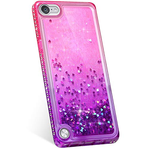 Jinghuash Kompatibel mit ipod Touch 5/6 Hülle,3D Liquid Glitzer Sequins Sparkle Schutzhülle mit Bling Glänzend Diamant Strass Dünn Weiche TPU Silikon Handyhülle für ipod Touch 5/6-Rosa lila