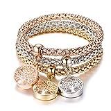 Bracciale elastico 3 pezzi per donna, bracciale catena popcorn con pendente ciondolo Bracciale in argento oro rosa bracciale per amico regalo (3 pezzi/set) (Mescola colori)