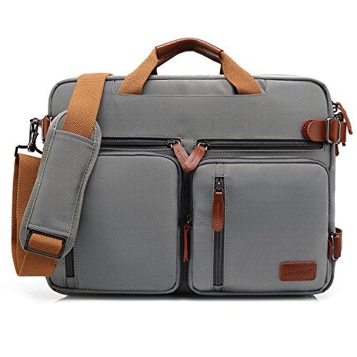 CoolBELL 15.6 Inch umwandelbar Aktentasche Messenger Bag Rucksack Umhängetasche Laptop Tasche Handtasche Business Backpack Multifunktions Reise Rucksack Passend für 15 - 15,6 Zoll Laptop / Männer / Frauen ,Grau