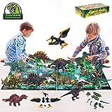 Sinoeem 15er-Packung Dinosaurier Spielzeug Set Abnehmbare und Zusammengebaute Pädagogische Spielzeug Dinosaurier Realistische Dinosaurier Welt mit Dinosaurier Einführung Karte