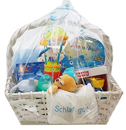 Baby Geschenkkorb Junge Geschenk für Geburt oder Taufe blau