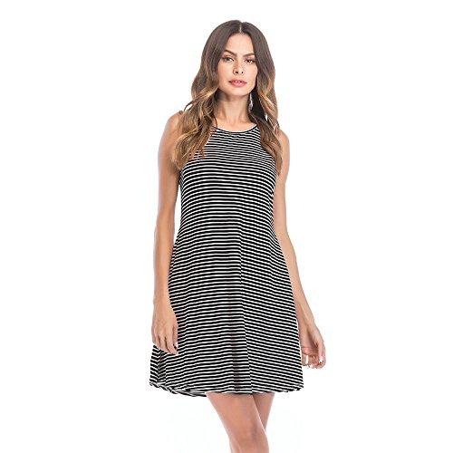 Damen Kleider Streifen Ärmellose Swing-Kleid FantaisieZ Mode Rundhals MinikleidDoppel Farbig Cocktailkleider Elegant Rockabilly Kleid Partykleid ()