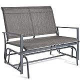 VonHaus 2 Seater Garden Glider Bench - Grey Textoline/Mesh Fabric Swing Rocking Seat - For Outdoor Decking, Balcony, Patio Or Terrace