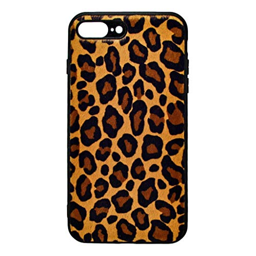 Todo Phone Store - Funda Hibrida Leopardo Manchas Huellas Pelo Sintetico Premium Silicona Marron Gel TPU para Apple iPhone 7 Plus / 8 Plus