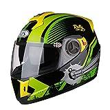 NJ Casco- Casco de Motocicleta para Hombre Four Seasons Universal Transparente antivaho Espejo Casco (Color : Verde, Tamaño : XXL)