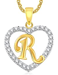 Meenaz 'R' Letter Heart Gold Plated In American Diamond Cz Pendant Locket With Chain For Women And Men Ps409