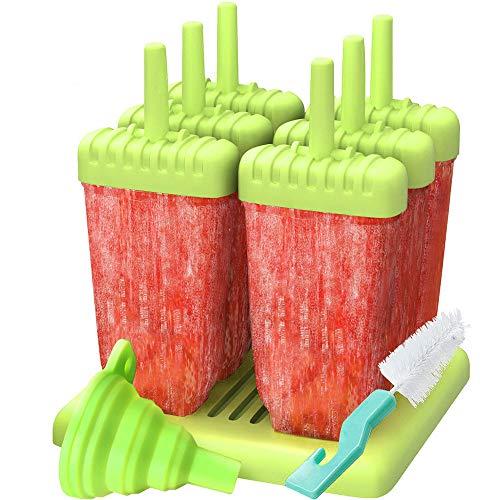 HUAH Eisformen, 6 Stücke Popsicle Formen Set, BPA frei Ice Lolly Moulds, Spülmaschinenfest, DIY Selbstgemachtes EIS, Behälter für EIS am Stiel Eiswürfelbereiter Mit Reinigungsbürste und Falttrichter
