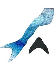 Cola de sirena para nadar para niños,traje de baño nuevo color para niñas mujer (D1900water azul, 12)