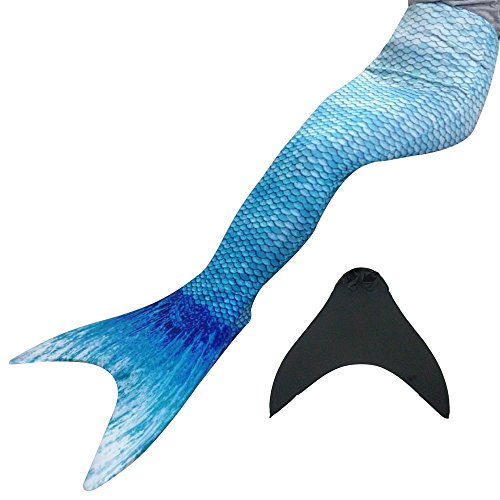 Meerjungfrauenschwanz Kostüm (Meerjungfrauenschwanz Kostüm zum Schwimmen mit Meerjungfrau Flosse Kinder Erwachsene (Wasser blau, L (160-165cm)))