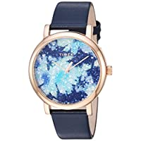 Timex Women's TW2R66400 Crystal Bloom Blue/Rose Gold Floral Leather Strap Watch