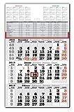 3 Monats Wandkalender 2019 mit Datumschieber in Rot, inkl. Ferienübersichten und Jahresüberblick 2019 und 2020, Dreimonatskalender werbefrei, 3 Monatskalender keine Werbung