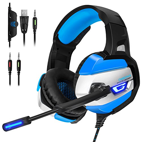ECHTPower PS4 Headset Gaming Kopfhörer mit Mikrofon LED Effekt On Ear Surround Sound Ohrhörer und Lautstärkeregelung für PS4 Xbox One PC Laptop Tablet Mobile Phones Blau