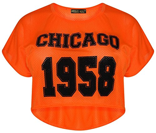 Chocolate Pickle ® Damen Air Tech Varsity Hoch Niedrig Crop Oberteile 36-42 Chicago 1958 Neon Orange