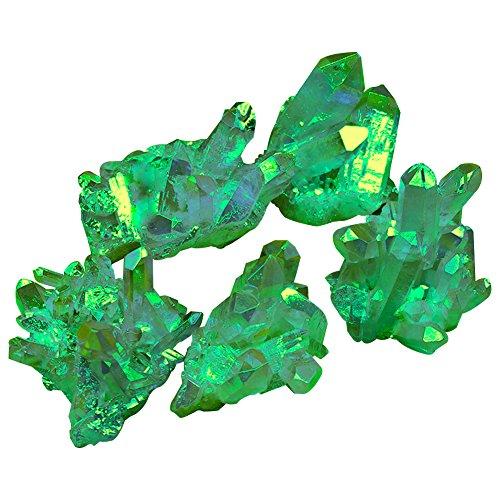 AITELEI Unregelmäßige natürliche Titan Grün Druzy Quarz Cluster Crystal Geode Edelstein Probe Heilung Crystal Rock Quarz Stein für Home Decor 0.07-0.11 Ib - Steine Heilung Crystal