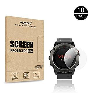 AKWOX [10-Pack Screen Protector for Garmin Fenix 5X, [Anti-Bubble] [HD Clear] Screen Protective Film for Garmin Fenix 5X