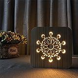 YL-Light 3D Hohl Nachtlicht Gebäude Holztisch Lampe Kreative Technologie Mode Schreibtischlampe Wohnzimmer Kinder Studie Schlafzimmer Nachttisch Hotel Zimmer Dekoration Geschenke,B
