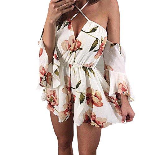 Bekleidung Jumpsuit Loveso Sommerkleider Damen Mode Elegante Böhmisch Blumenmuster Lose Halbe Hülse Hanging Neck Schulterfrei V Neck Minikleid Chiffon Mehrfarbig Overall ((Größe):36 (M), Mehrfarbig) (Unitard Länge)